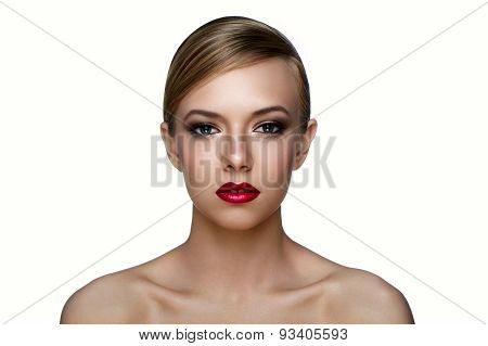 Beauty Skin Of Girl With Smoky Eyes And Red Lips.