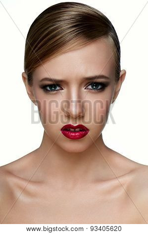 Beauty Young Female Model With Smoky Eyes With Negative Emotions.