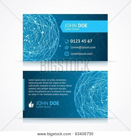 Vector abstract blue sphere business card template