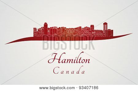Hamilton Skyline In Red