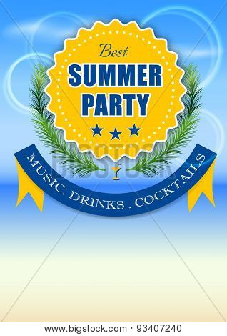 Best summer party yellow label, vector illustration or poster