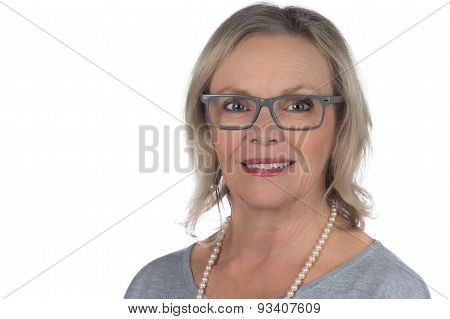 Blonde glasses woman