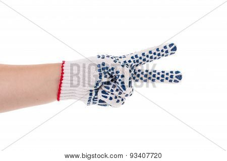 Thin work gloves shows two fingers.