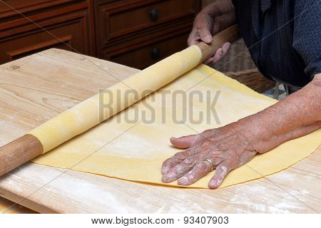 grandmother make homemande pasta