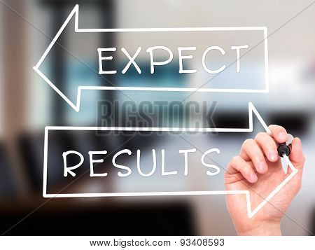 Man Hand writing Expect and Results with marker on transparent wipe board.