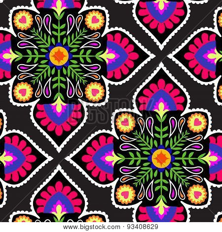 Decorative Pattern With Folk Elements.