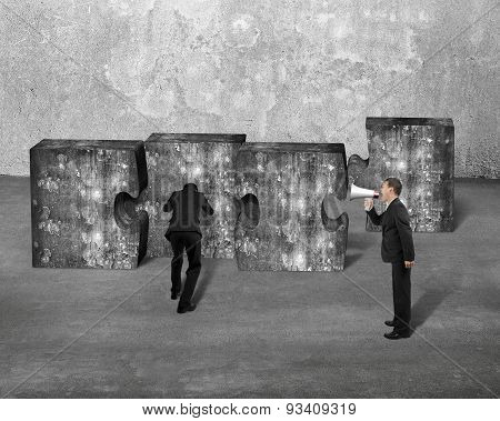 Manager Speaker Yelling Businessman Pushing Jigsaw Puzzle Concrete Blocks
