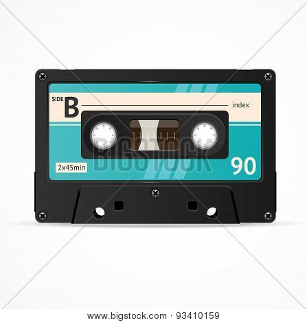 Vector Blue Cassette Tape isolated