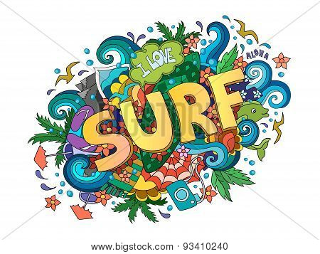 Surf  lettering design, hand-drawn t-shirt typographic vector surfing print, bright surfboard illust