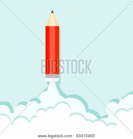 Pencil On The Background Of Clouds And Blue Sky
