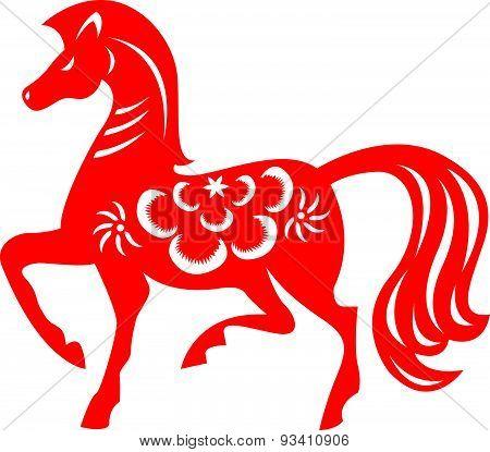 Red paper cut a horse zodiac symbols