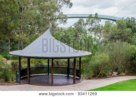 Pavilion Near A Pond And An Observation Walking Bridge In Kings Park And Botanical Gardens In Perth
