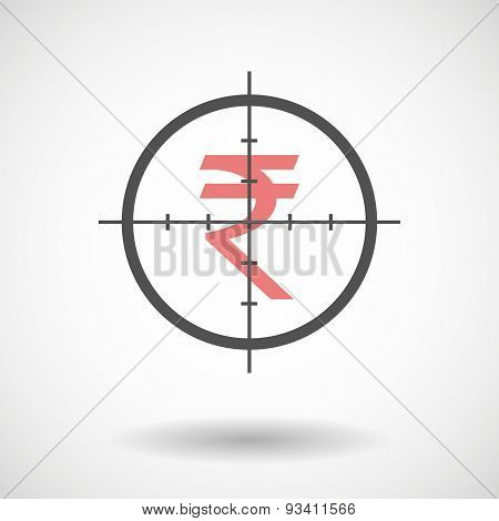 Crosshair Icon Targeting A Rupee Sign