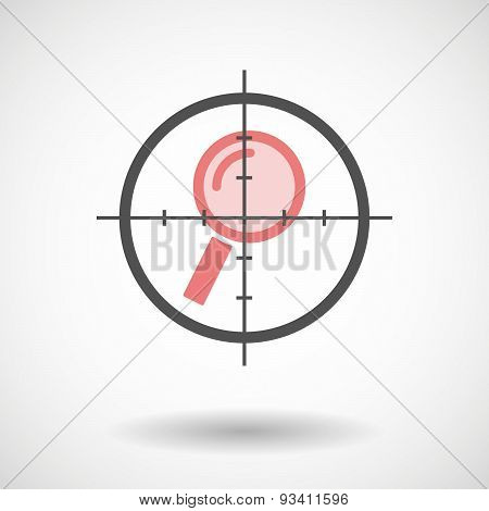 Crosshair Icon Targeting A Magnifier