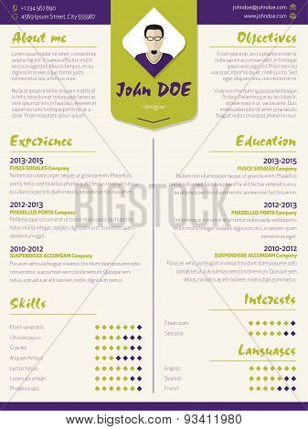 Colorful Modern Resume Curriculum Vitae Template With Design Elements