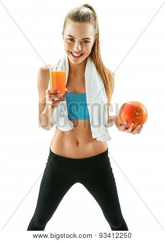 Cute Smiling Woman With Fresh Juice And Grapefruit, Health And Beauty Care Concept