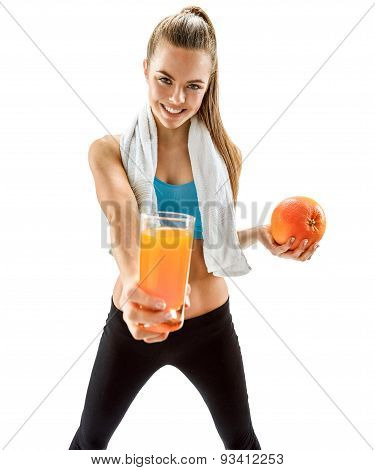 Young Smiling Woman With Fresh Juice And Grapefruit, Health And Beauty Care Concept