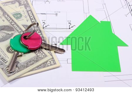 Banknotes, Home Of Green Paper And Keys On Drawing Of House
