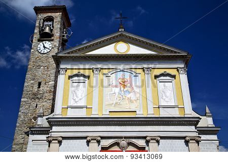 Besnate  Abstract In  Italy      Wall  And Church Bell Sunny Day
