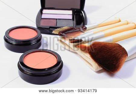 Set Of Brushes And Cosmetics For Makeup