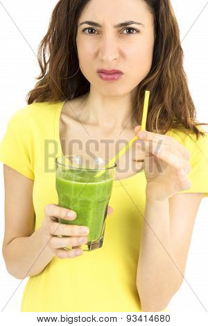 Woman Makes A Sour Face For The Smoothie