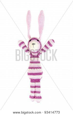 Funny Knitted Rabbit Toy Is Jumping, Isolated