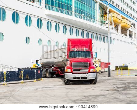 Fuel Truck At Cruise Ship