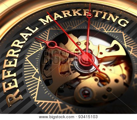 Referral Marketing on Black-Golden Watch Face.