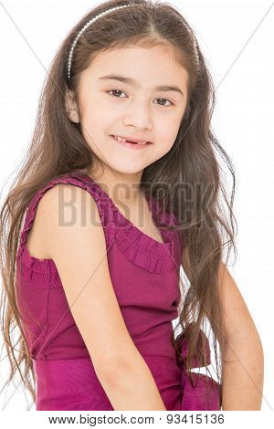 Beautiful smile of the little girl whose changing teeth, close-u