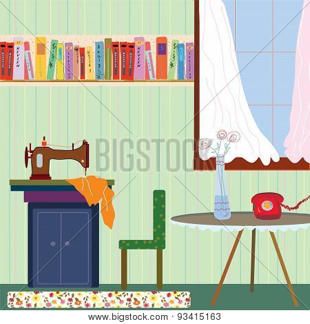 Retro Room Interior With Sewing Machine And Phone