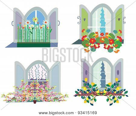 Windows With Flowers Box Design Set