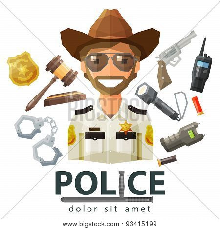 police, law icons. set of elements - gavel, flashlight, shocker, cartridge, portable radio, pistol,