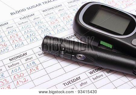 Glucometer And Lancet Device On Medical Forms For Diabetes