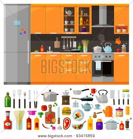 kitchen furniture. set of elements - utensils, tools, food, kettle, pot, knife, spices, noodles, cof