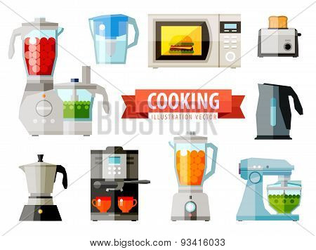 cooking icons. set of elements - food processor, microwave, electric kettle, toaster oven, mixer, ki