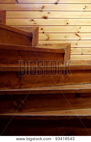 Spiral  Rustic Pine Wood Staircase From Darkness To Light