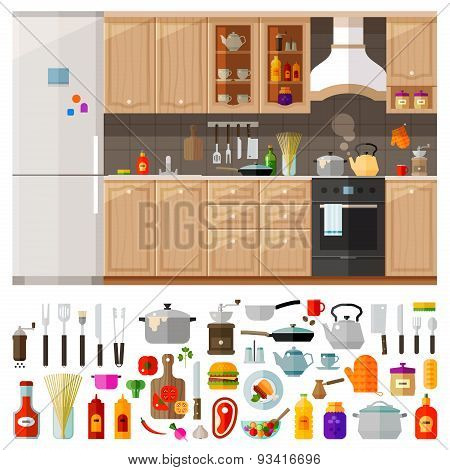 kitchen. set of elements - utensils, tools, food, kettle, pot, knife, spices, noodles, coffee grinde