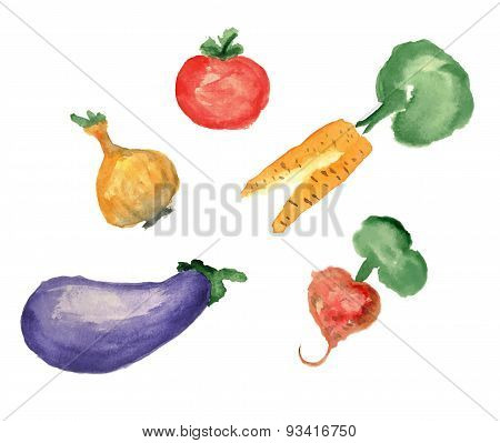 watercolor illustration, a set of vegetable