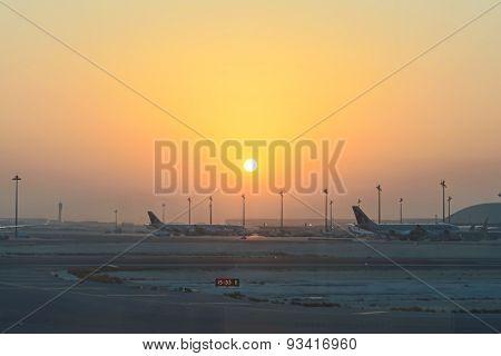 Sunrise at airport.