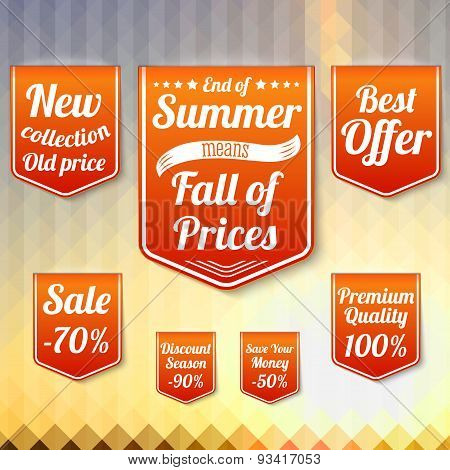Set of sale business banners, for the late summer and autumn. Vector.