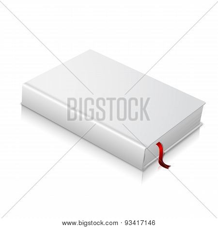 Realistic white blank hardcover book with red bookmark.