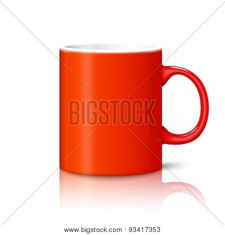 Blank bright red photo realistic cup isolated on white background with reflection, for branding and