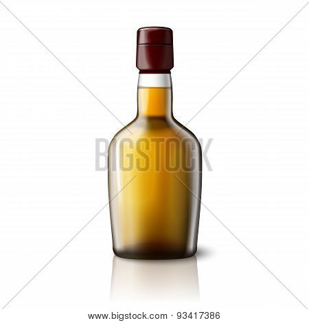 Blank realistic whiskey bottle isolated on grey background with place for your design and branding.