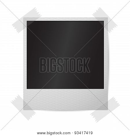 Blank realistic isolated on white vector instant photo frame, sticked to the wall.