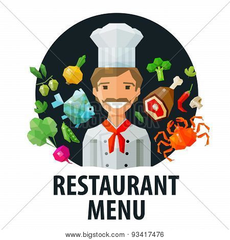 menu, restaurant vector logo design template. chef, food or cooking icon. flat illustration