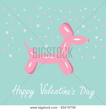 Dog Balloon Animal Pink Hearts Bue Background Happy Valentines Day Flat Design