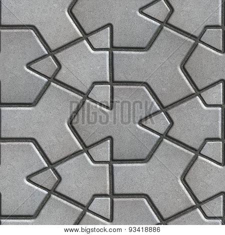 Gray Paving Slabs Built of Crossed Pieces a Various Shapes.