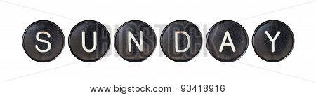Typewriter Buttons, Isolated - Sunday