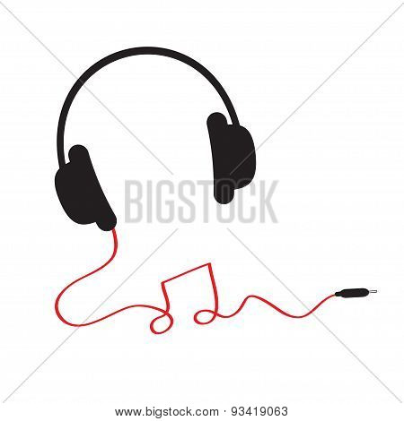 Black Headphones Icon With Red Cord In Shape Of Note Music Background Isolated Flat Design
