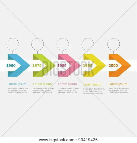Infographic Timeline  Ive Step  Ribbon Arrow Dashed Circle And Text. Template.  Flat Design.